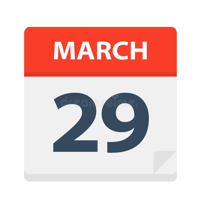 March 29 - Calendar Icon. Vector Illustration vector illustration