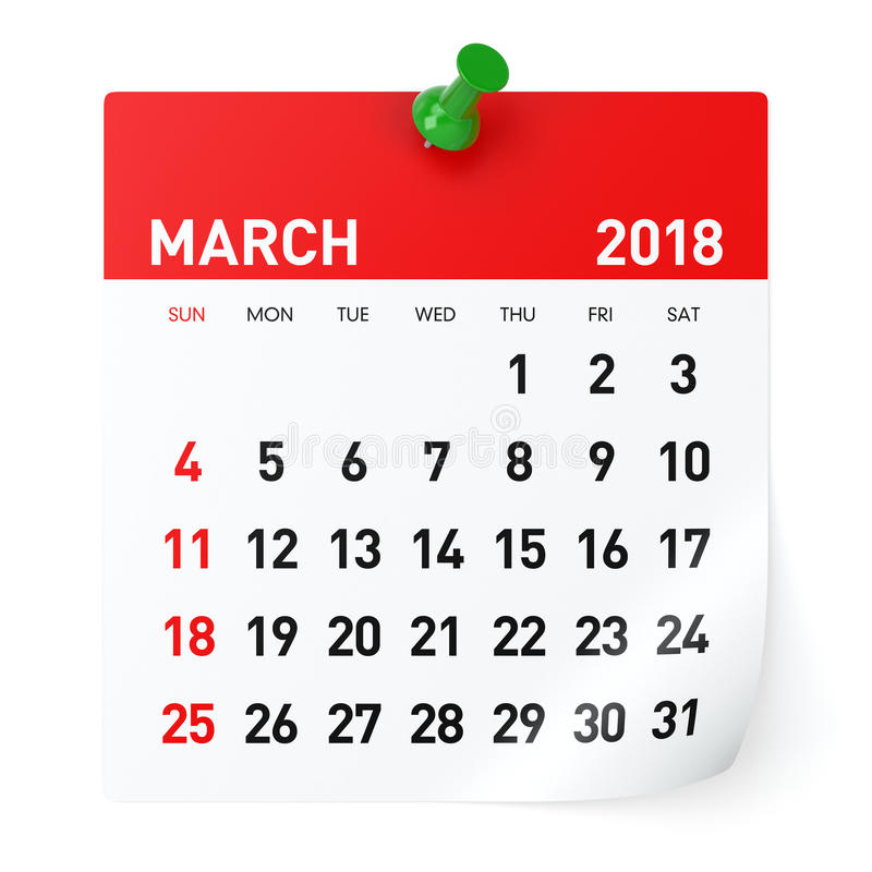 Download March 2018 - Calendar stock illustration. Illustration of isolated - 97170686