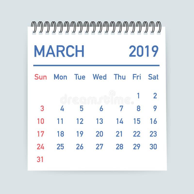 March 2019 Calendar Leaf. Calendar 2019 in flat style. A5 size. Vector illustration. royalty free illustration