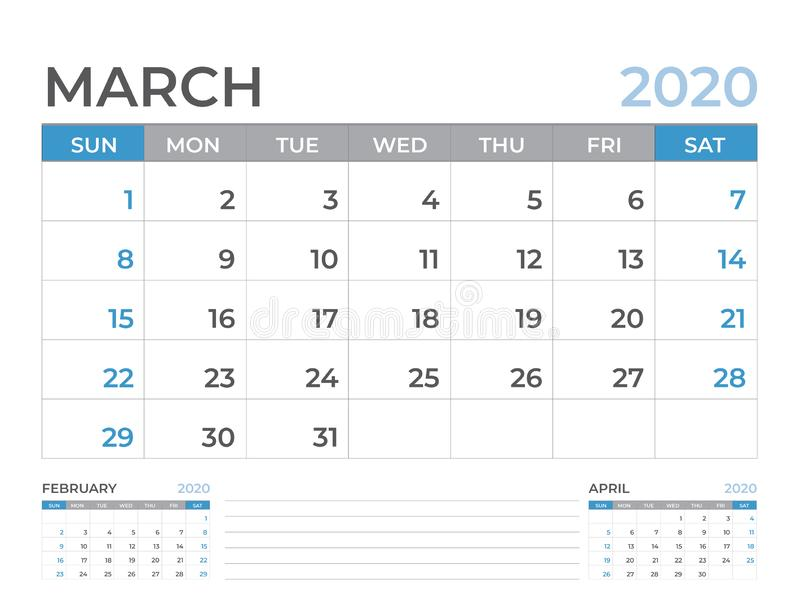 March 2020 Calendar template, Desk calendar layout  Size 8 x 6 inch, planner design, week starts on sunday, stationery design stock illustration