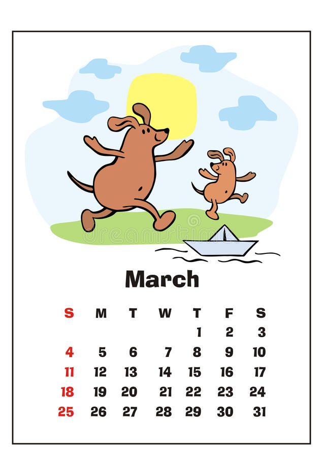 March 2018 calendar vector illustration