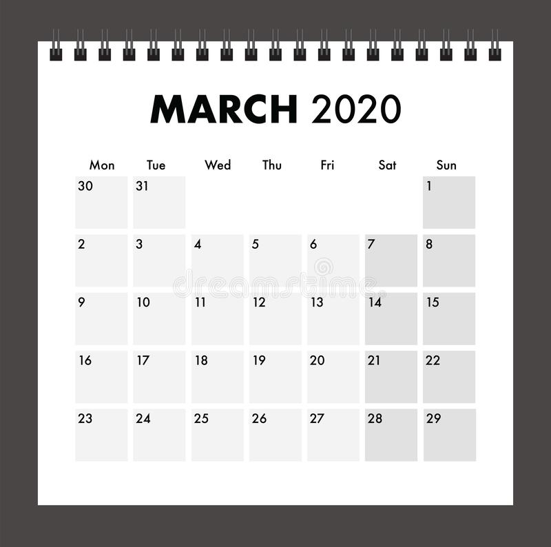 March 2020 calendar with wire band stock photography