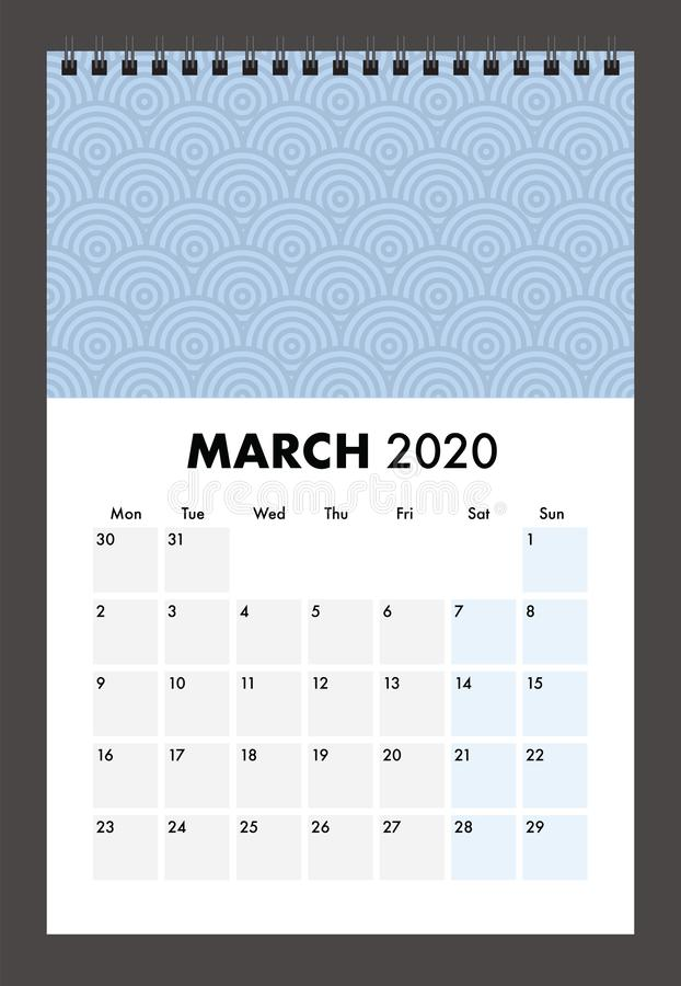 March 2020 calendar with wire band stock photos