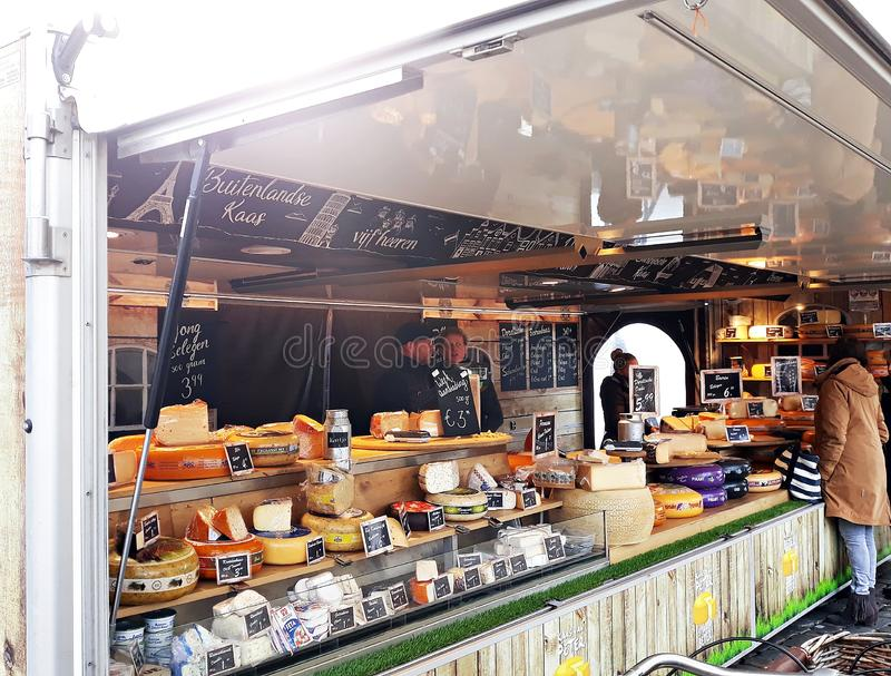 March, 23, 2019. Cheese stall at the cheese market in Gouda stock photography