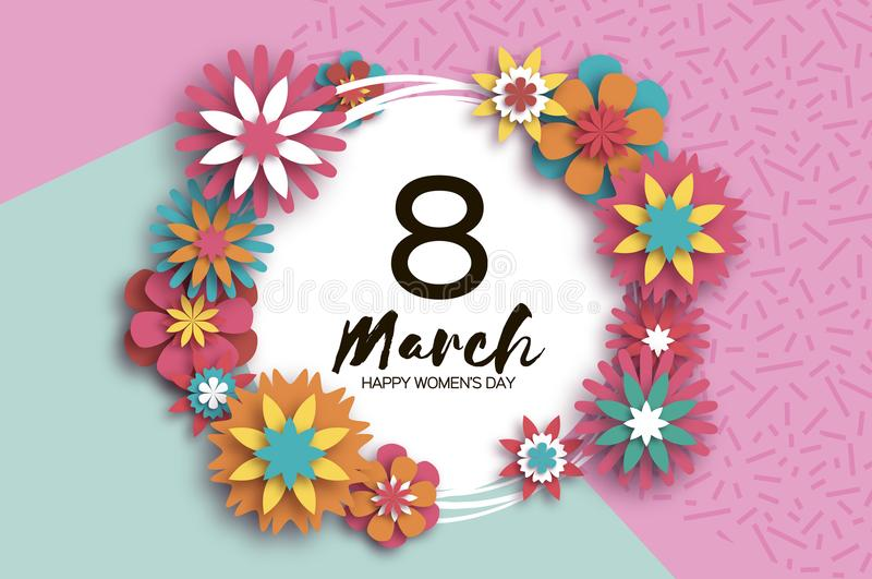 8 march colorful happy women s day trendy mother s day paper cut trendy mother s day paper cut floral greeting card origami flower text circle frame spring blossom seasonal holiday modern paper decoration vector mightylinksfo
