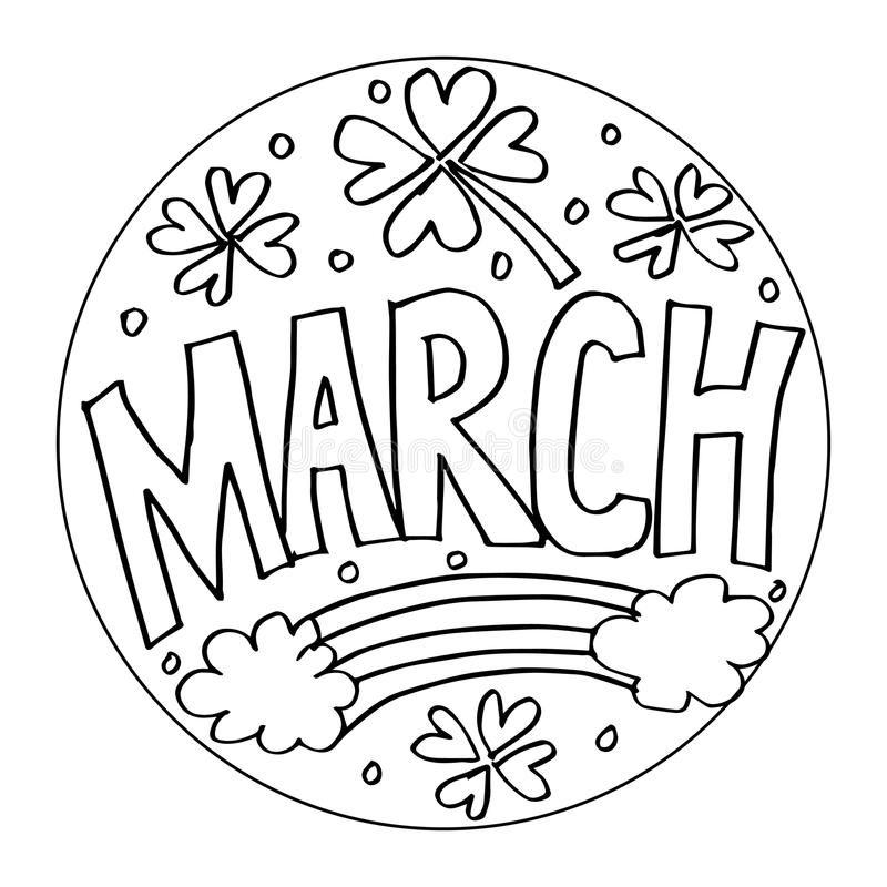 March Coloring Pages For Kids Stock Vector - Illustration ...
