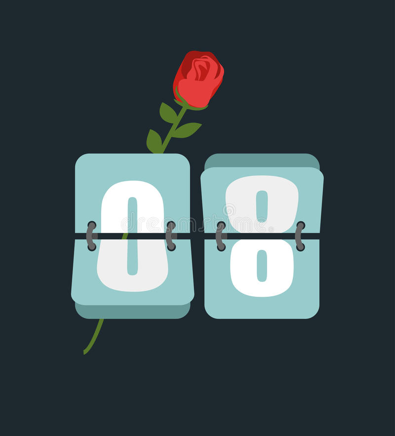 8 March. Countdown timer. Figure 8. International womens day. R. Ed Rose and watches vector illustration