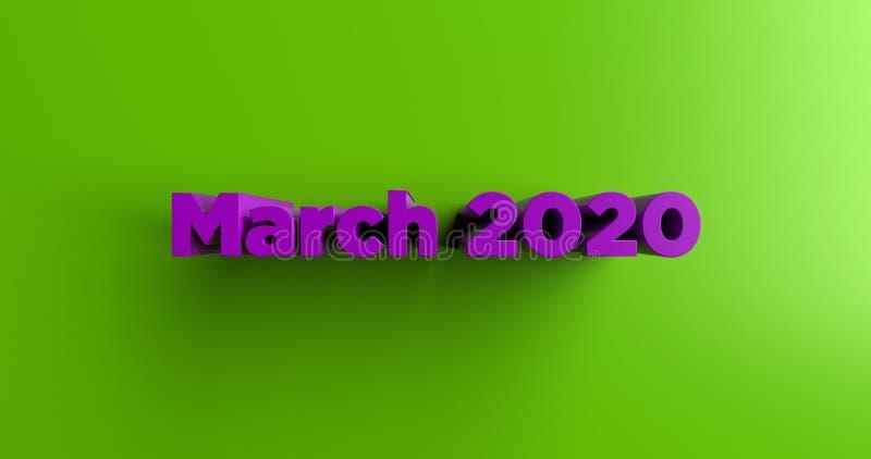 March 2020 - 3D rendered colorful headline illustration stock illustration