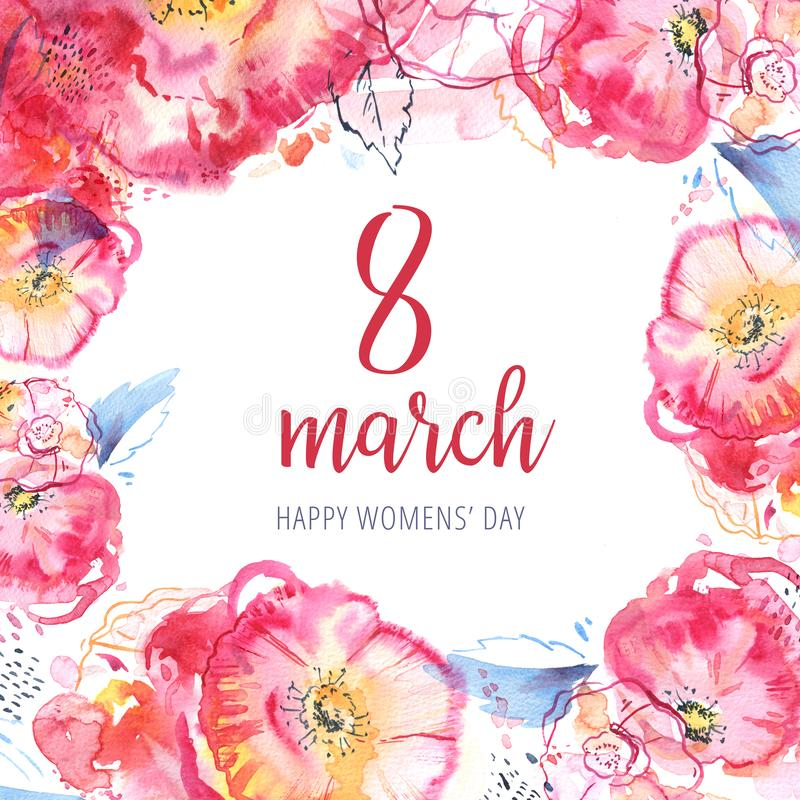 8 march design template. Happy Womens` day hand drawn watercolor illustration. Decorative sketch roses frame royalty free stock photo