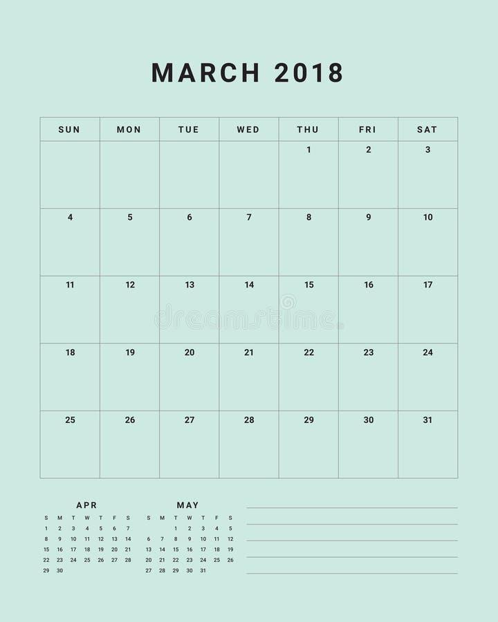 Download March 2018 Desk Calendar Vector Illustration Stock Vector - Illustration of table, graphic: 100320745