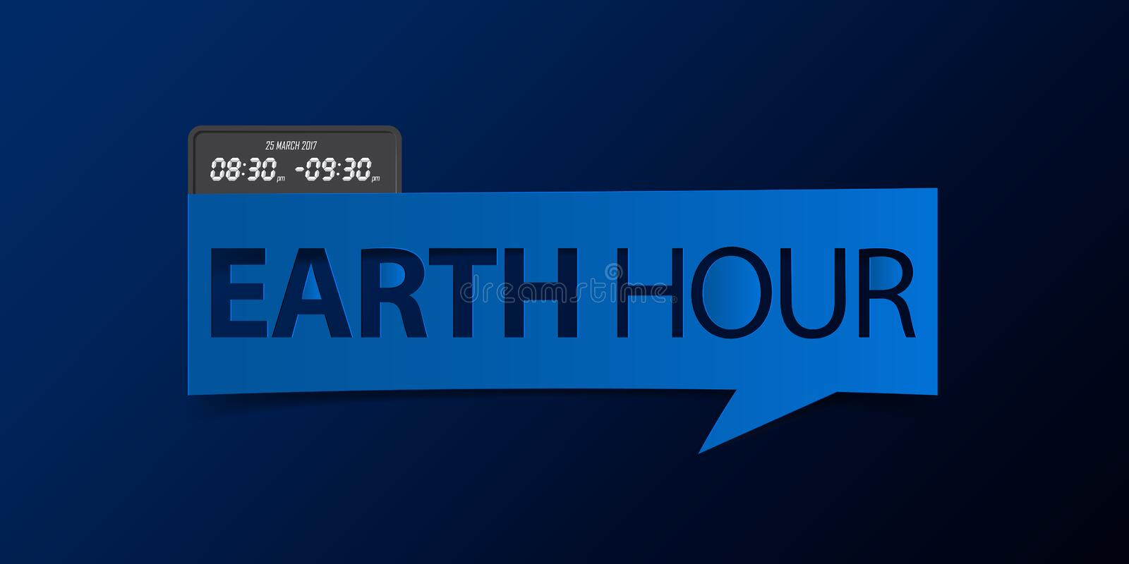25 March, Earth Hour banner isolated on yellow background. Banner design template in paper cutting art style. Vector. royalty free illustration
