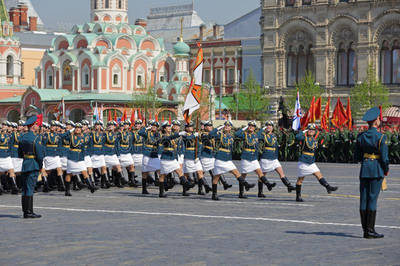 March of female cadets stock photo