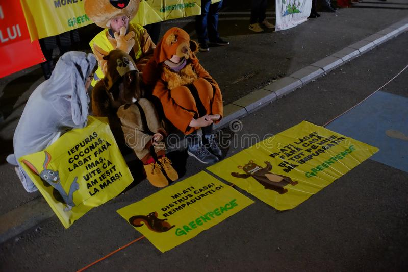The march for forests in Bucharest, Romania. stock photography