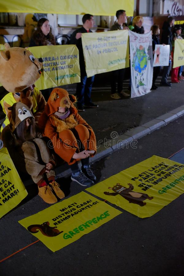The march for forests in Bucharest, Romania. stock images