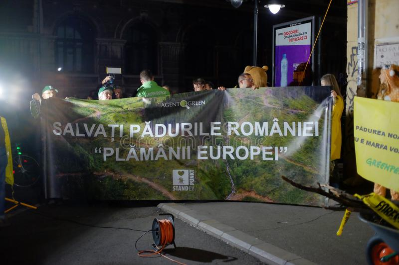 The march for forests in Bucharest, Romania. royalty free stock image