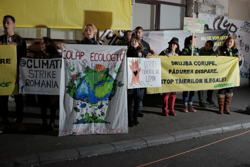 The march for forests in Bucharest, Romania. stock photo