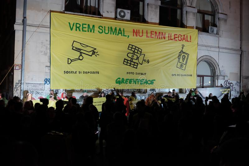 The march for forests in Bucharest, Romania. royalty free stock photos