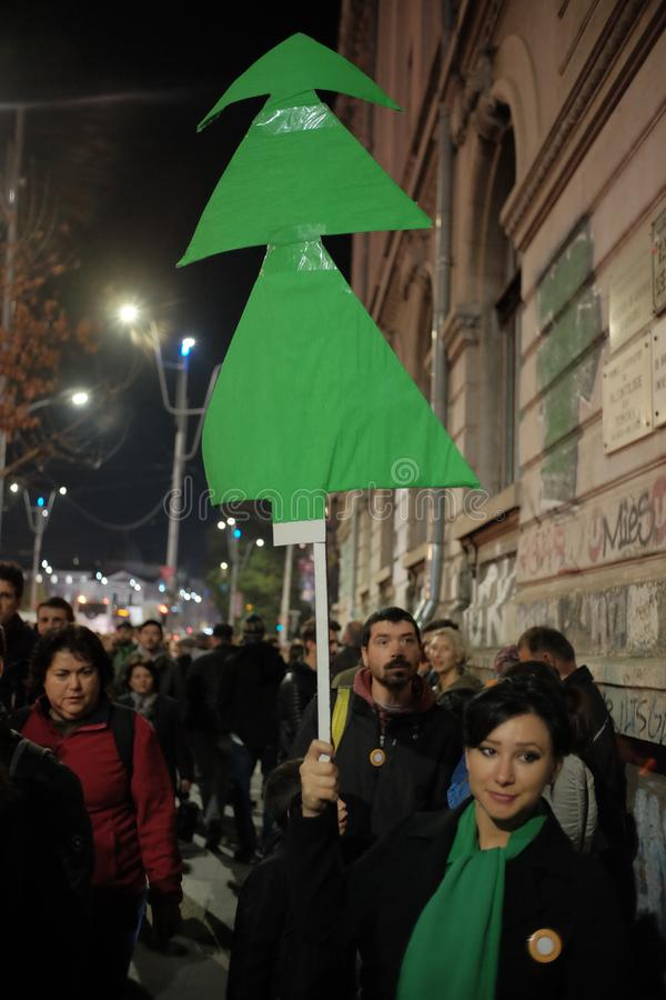 The march for forests in Bucharest, Romania. royalty free stock images