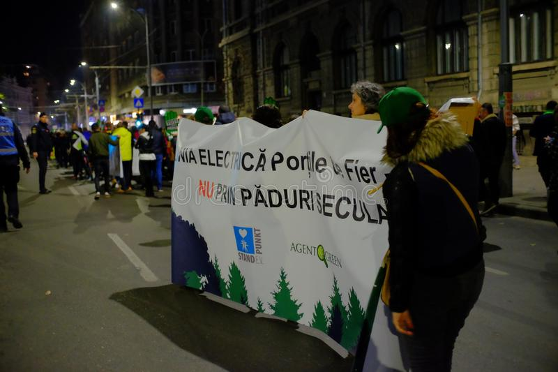 The march for forests in Bucharest, Romania. stock image
