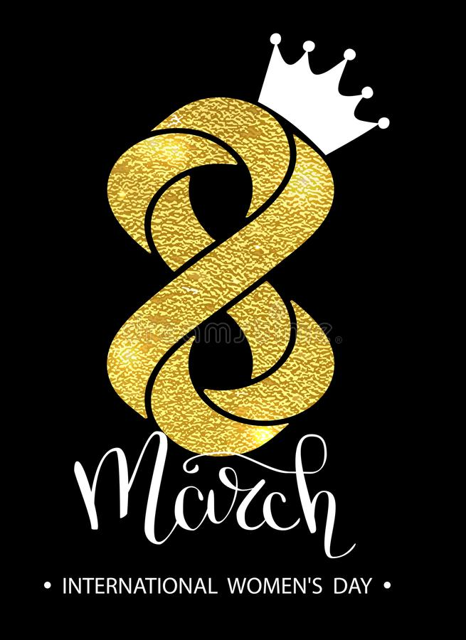 8 March gold glitter for Women Day greeting card and luxury text lettering on a white background. Womans Day concept stock illustration