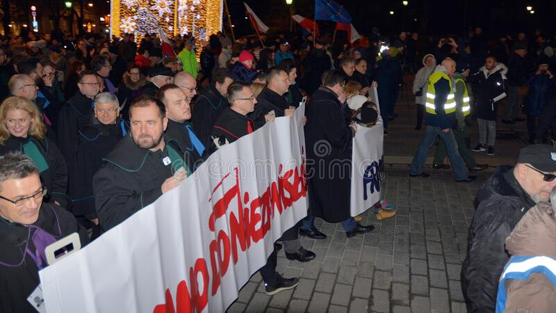 March of 1000 Gowns. Judges and lawyers from across Europe protest judicial takeover in Warsaw. royalty free stock image