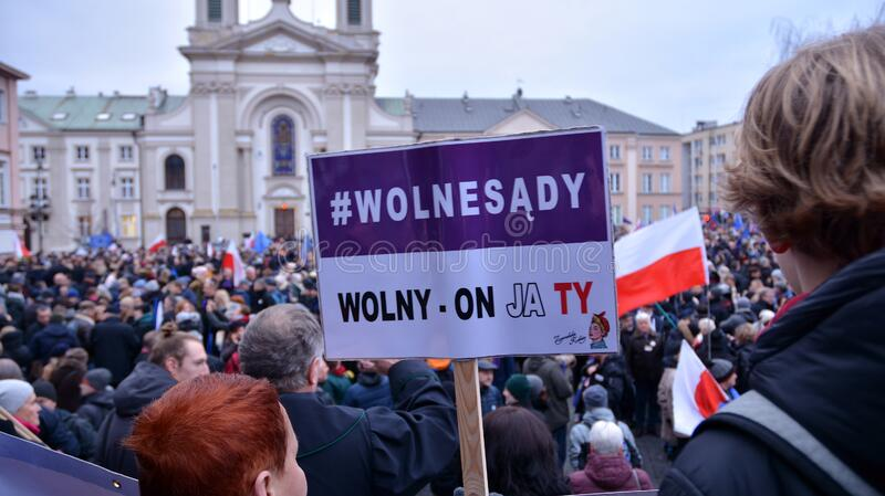 March of 1000 Gowns. Judges and lawyers from across Europe protest judicial takeover in Warsaw. royalty free stock images