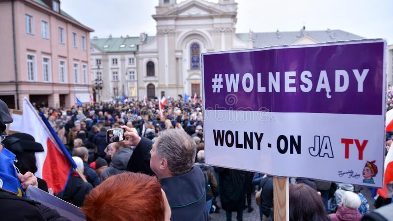 March of 1000 Gowns. Judges and lawyers from across Europe protest judicial takeover in Warsaw. royalty free stock photography