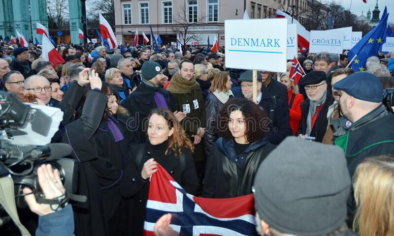 March of 1000 Gowns. Judges and lawyers from across Europe protest judicial takeover in Warsaw. stock photos