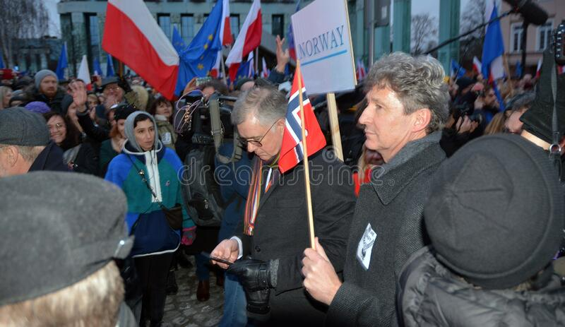 March of 1000 Gowns. Judges and lawyers from across Europe protest judicial takeover in Warsaw. stock image