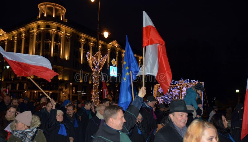 March of 1000 Gowns. Judges and lawyers from across Europe protest judicial takeover in Warsaw. royalty free stock photo