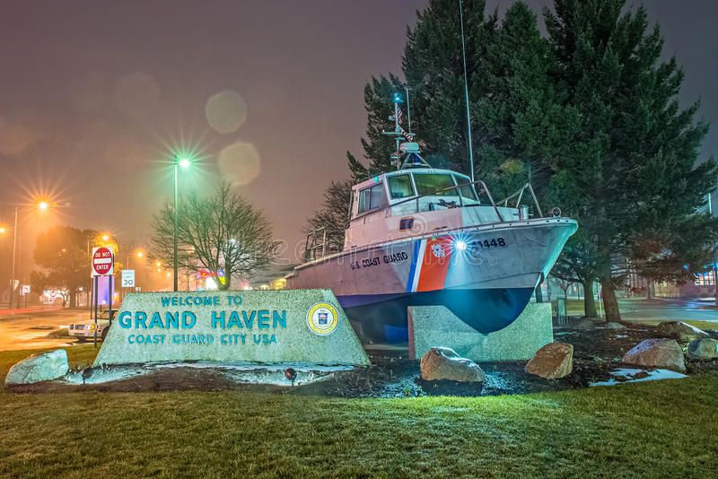 March 2017 Grand haven MI - welcome to grand haven michigan coast guard city usa entrance royalty free stock images