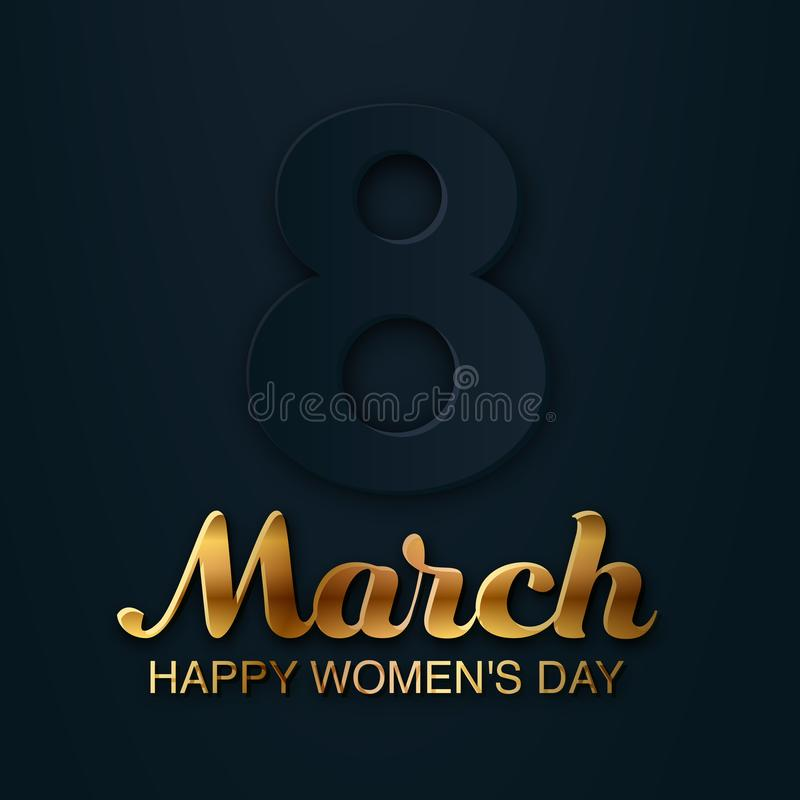 8 March greeting card to International Women`s Day. 3d paper cut number 8. Trendy banner, tag, flyer, postcard, poster royalty free illustration