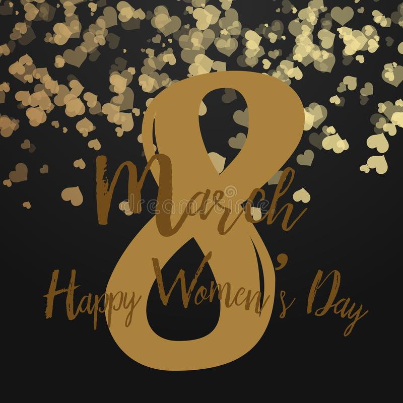 8 March greeting card with falling hearts on black. Happy Women`s Day. Vector stock illustration