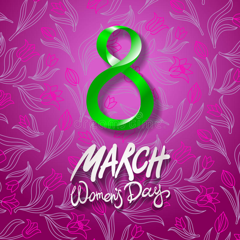 March 8 greeting card. International Womans Day. vector. pink background. flower tulip. Art vector illustration