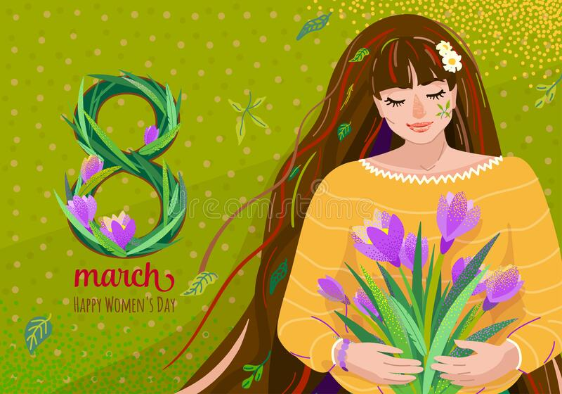 8 march greeting vector background. Happy womens day celebration card design with cute beautiful girl hold crocus royalty free stock image