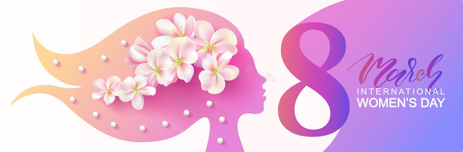 8 March Happy Women s Day banner. Beautiful Background with female silhouette ,flowers and beads.Vector illustration for royalty free illustration