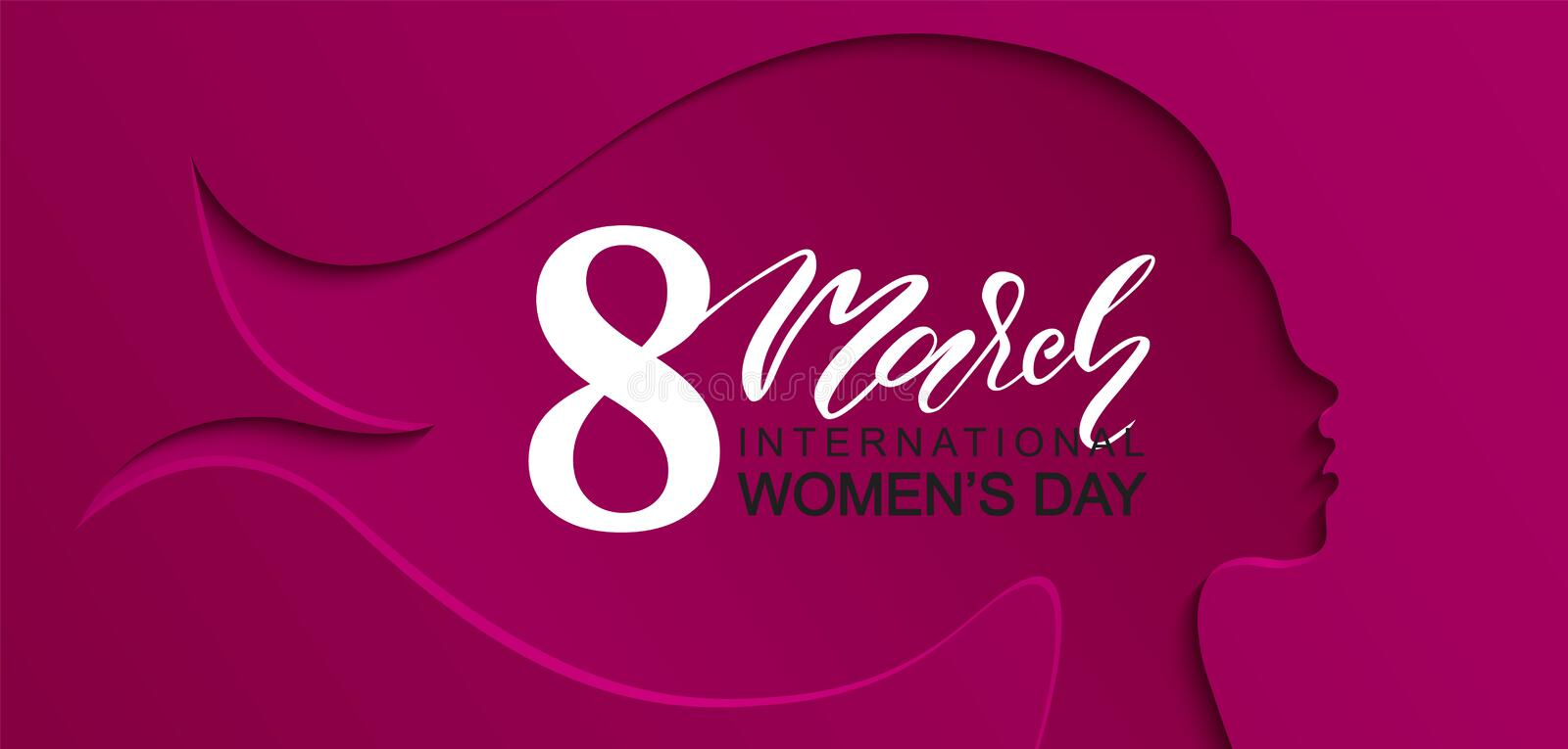 8 March Happy Women s Day banner. Beautiful Background with female silhouette .Vector illustration for website,cards stock illustration