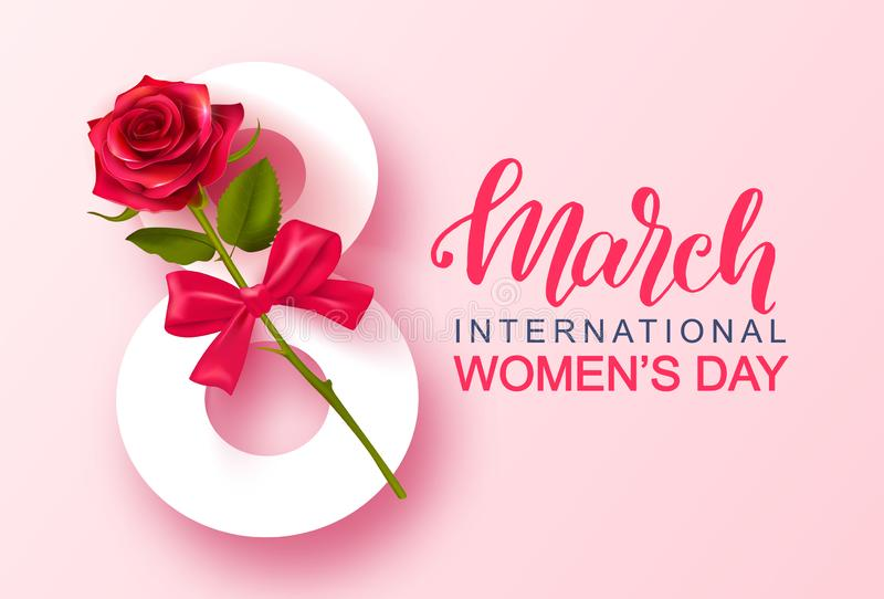 8 March Happy Women`s Day banner. Beautiful Background with rose and bow. Vector illustration for website , posters stock illustration