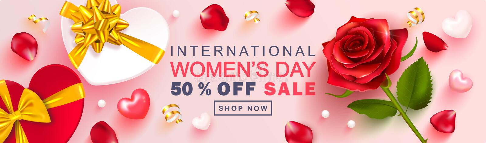 8 March Happy Women`s Day banner. Beautiful Background with rose, petals, gift boxes, hearts and Golden serpentine vector illustration