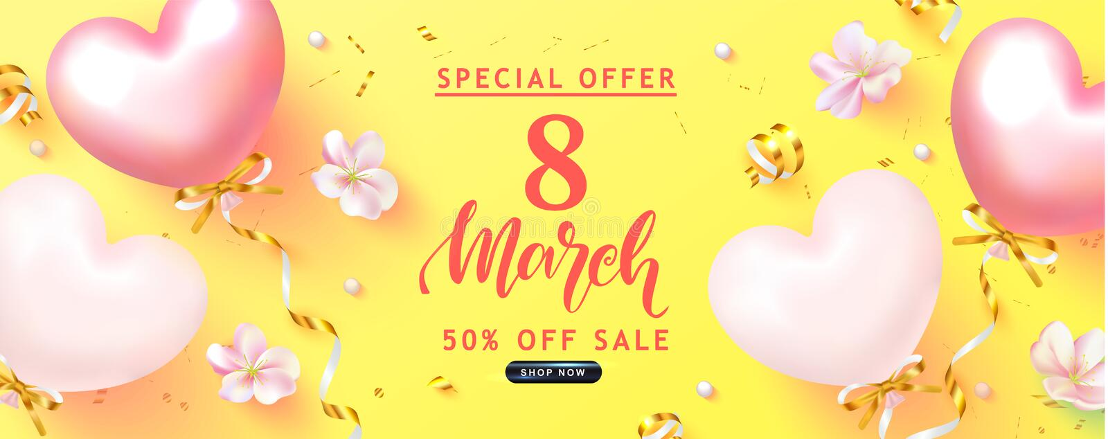 8 March Happy Women s Day banner. Beautiful yellow Background with flowers,serpentine and balloons. Vector illustration stock illustration
