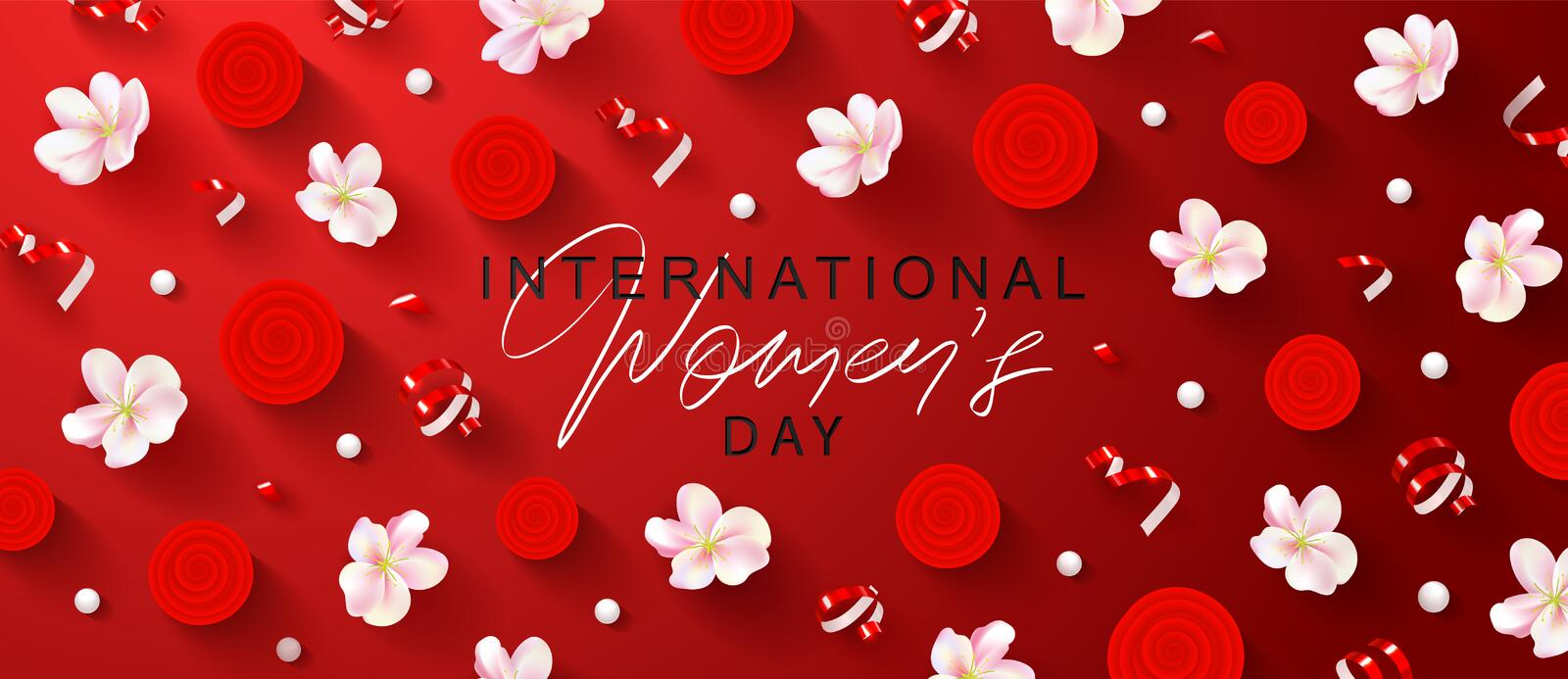 8 March Happy Women s Day banner. Beautiful yellow Background with flowers, stars, beads and serpentine. Vector royalty free illustration