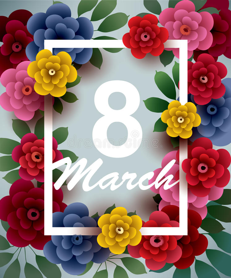8 March. Happy Women`s Day card with flowers and frame stock illustration