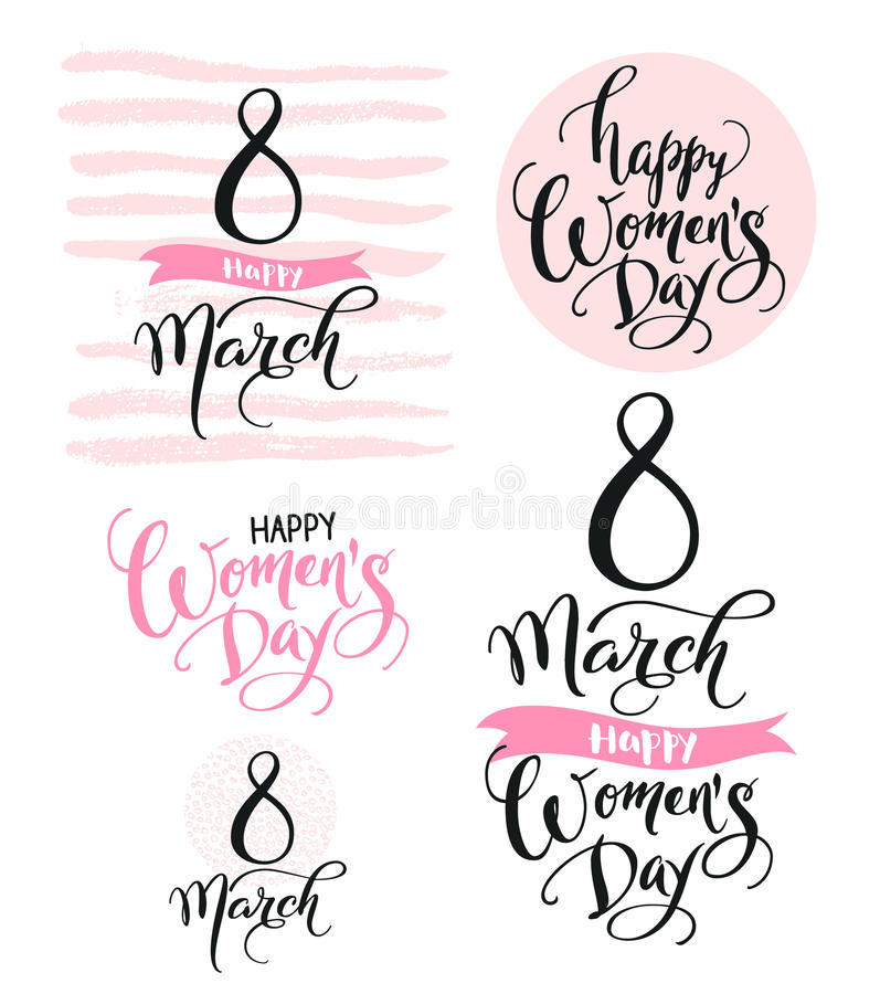 Download 8 March. Happy Women`s Day. Collection Of Beautiful Handwritten Words And Hand Drawn Elements In Pink Color. Vector Stock Vector - Illustration of hand, holiday: 86789634
