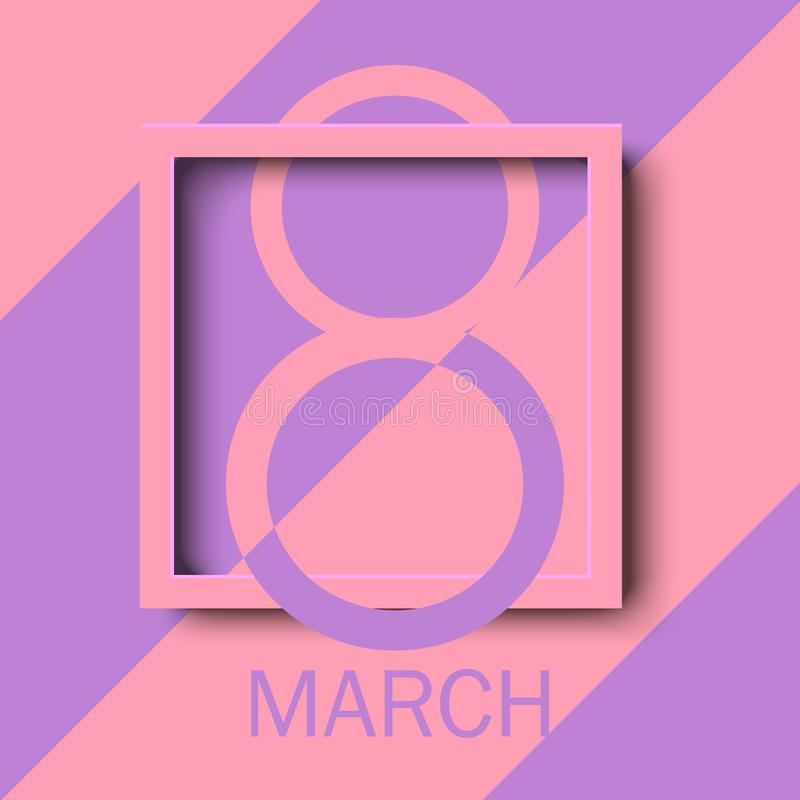8 March. Happy Women`s Day Greeting Card With Pink Square Frame ...