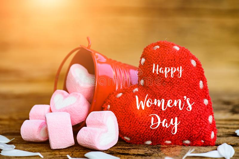 8 March Happy Women`s Day message on wooden background stock photos