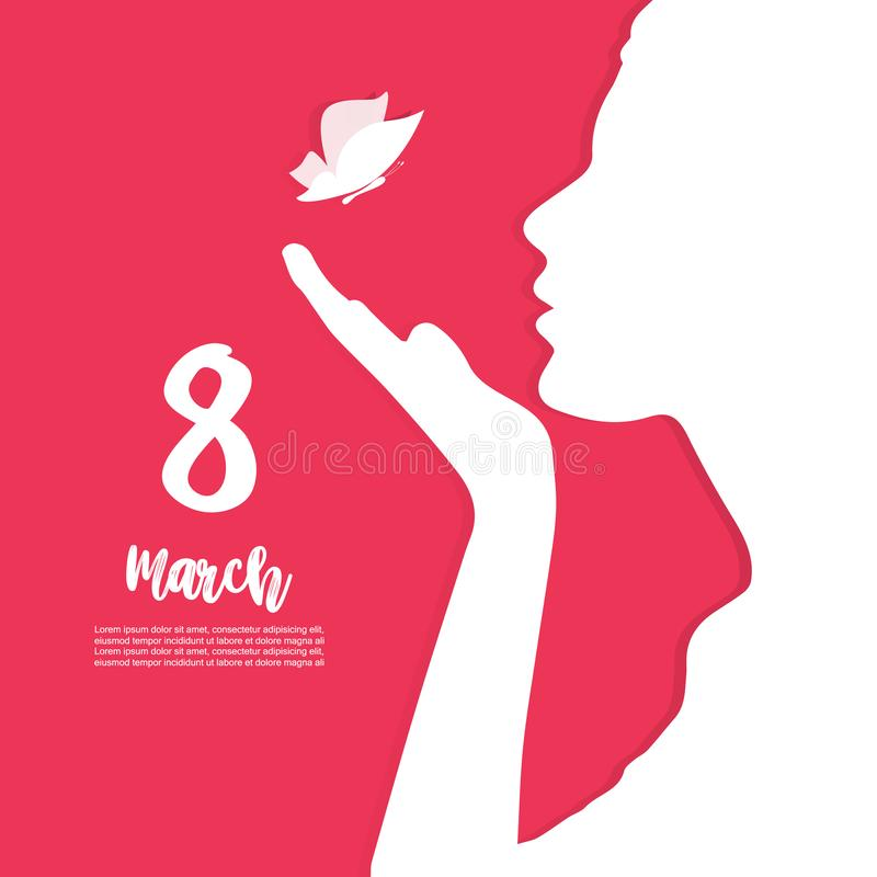 8 of March. Happy Women`s day present card royalty free illustration