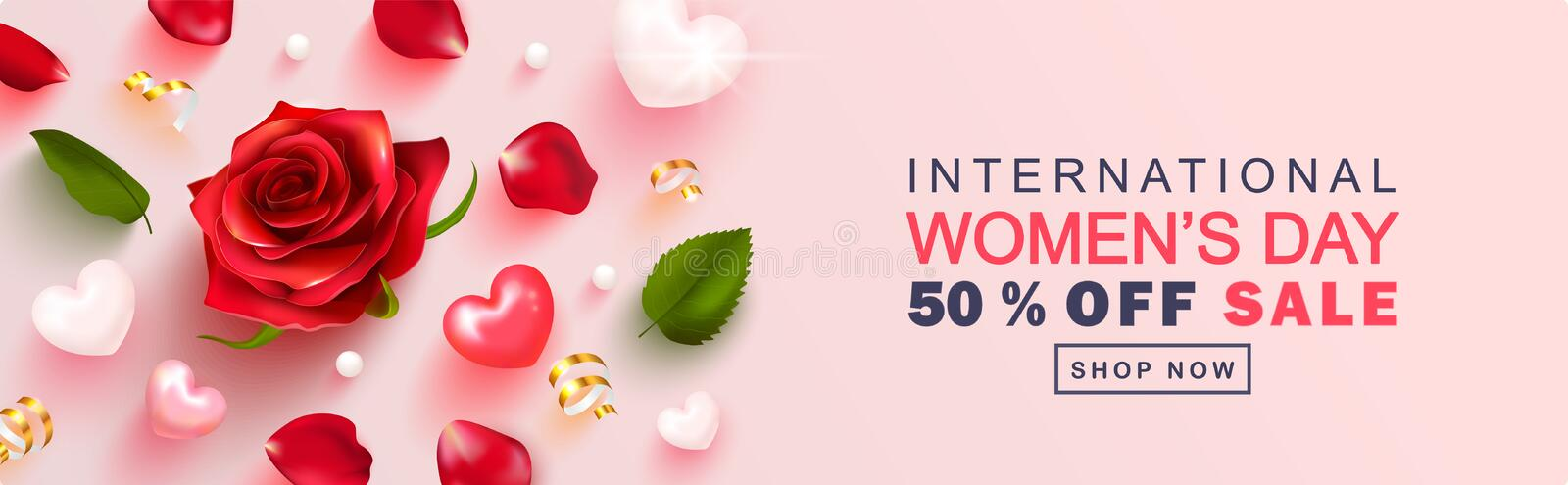 8 March Happy Women`s Day sale banner. Beautiful Background with rose, petals, hearts and Golden serpentine . Vector royalty free illustration