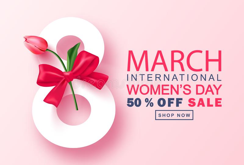 8 March Happy Women`s Day sale banner. Beautiful Background with tulip and bow. Vector illustration for postcards vector illustration