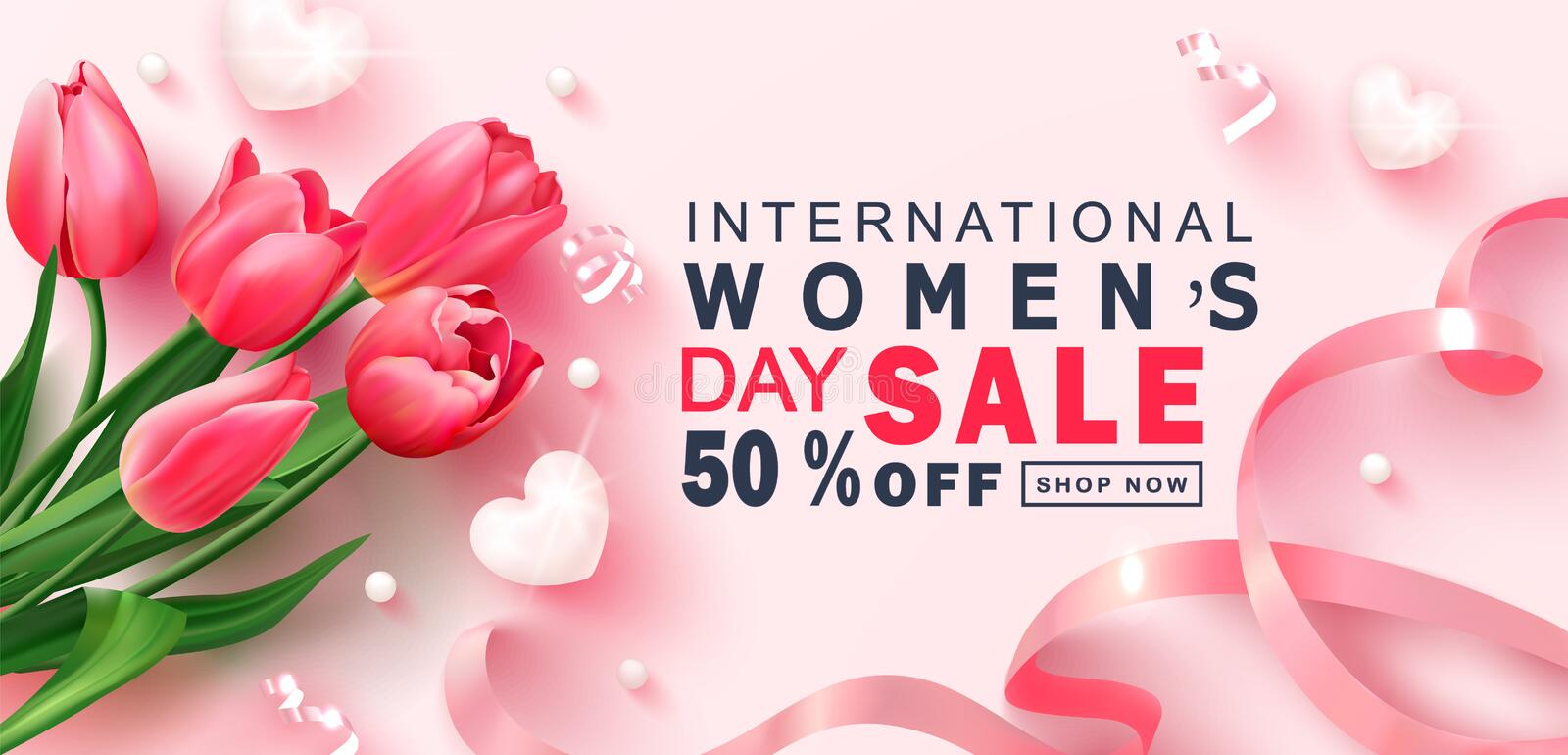 8 March Happy Women`s Day sale banner. Beautiful Background with tulips,hearts, serpentine, beads and ribbon. Vector royalty free illustration