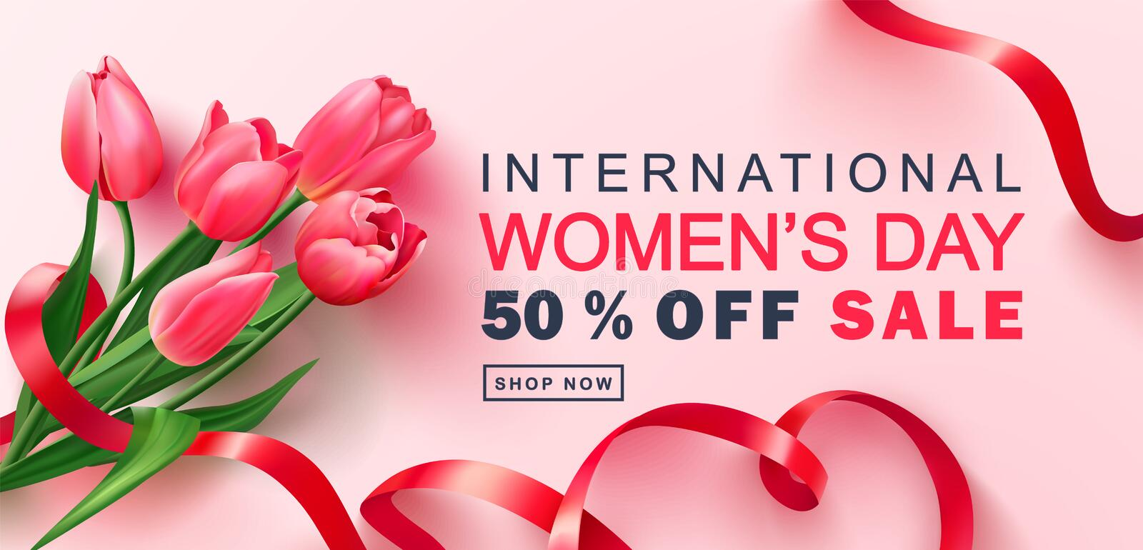 8 March Happy Women`s Day sale banner. Beautiful Background with tulips and ribbon. Vector illustration for postcards royalty free illustration